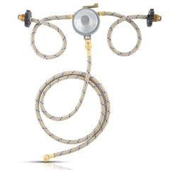 Regulador para 2 cilindros de gas con conexiones de acero