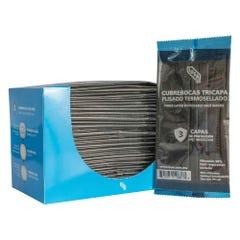Caja 50 pzas Cubrebocas IUSA, tricapa, Plisado, Negro