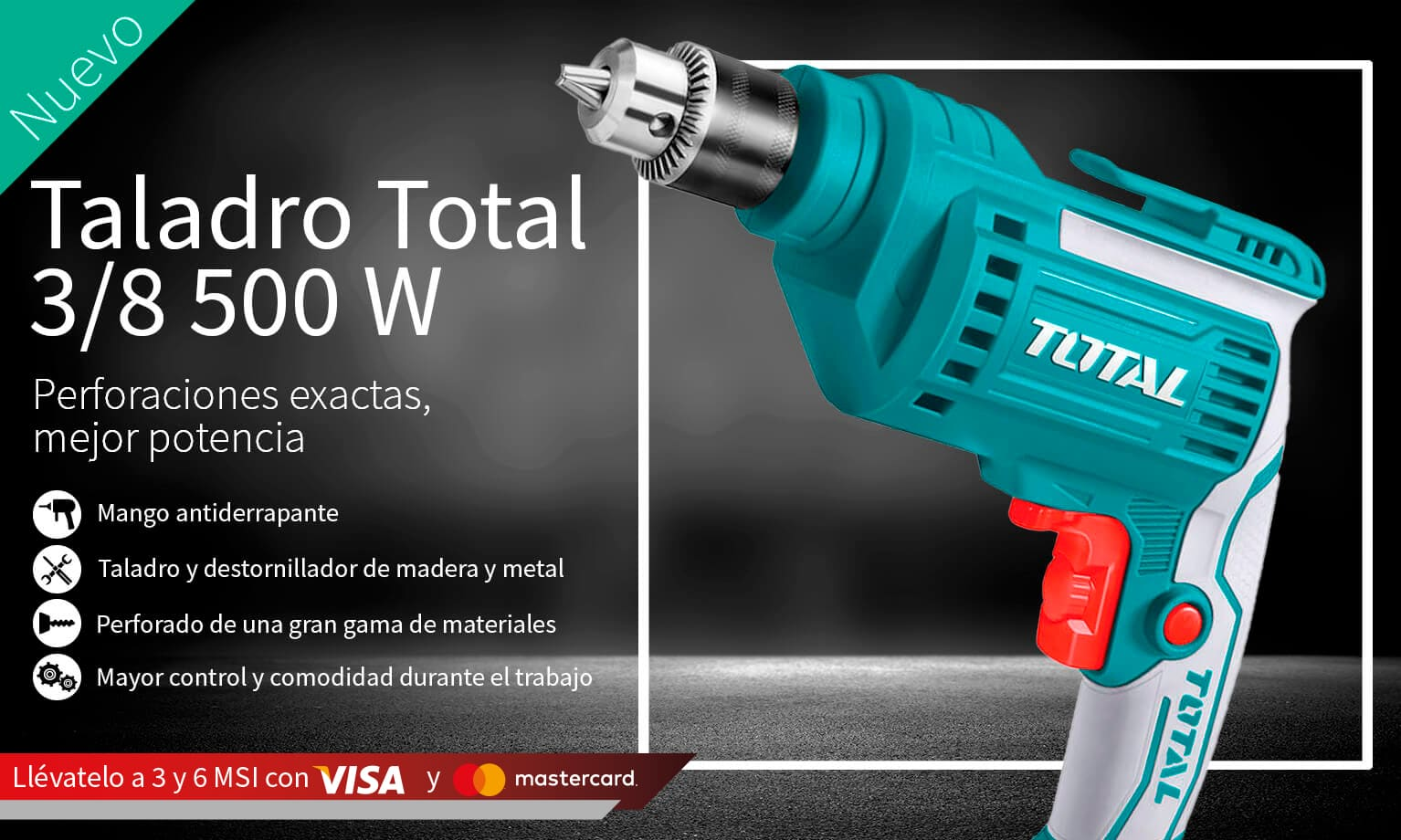 Taladro Total 3/8 500W con 3 o 6 MSI