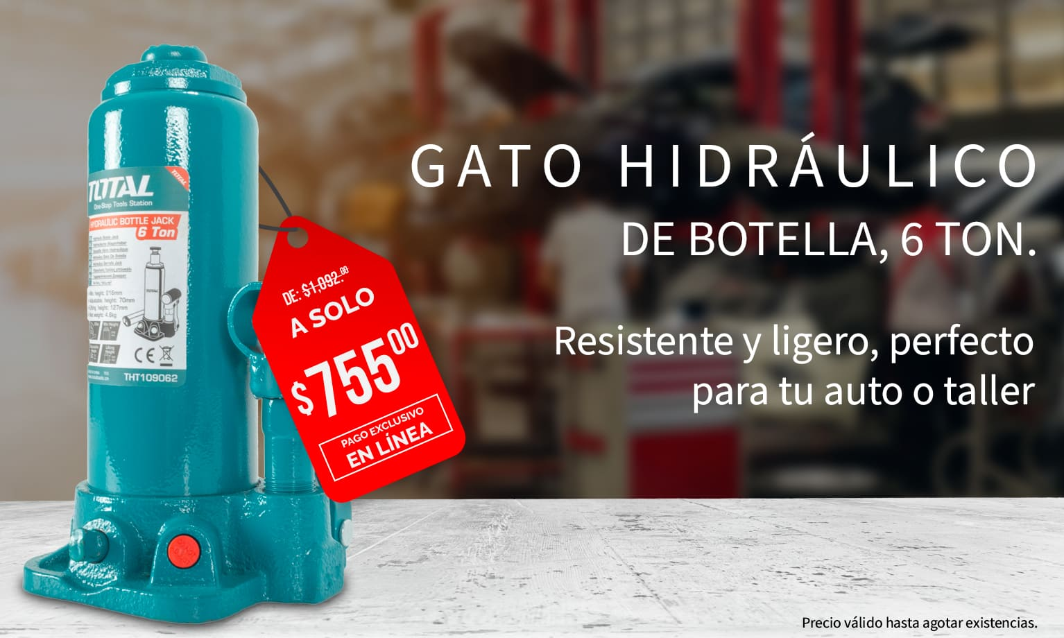 Gato hidráulico de botella